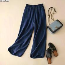 Женские прямые широкие брюки новинка из хлопка и льна длинные