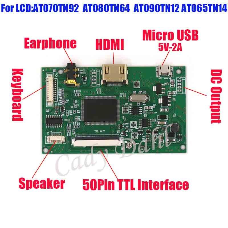 """HDMI VGA 2AV LCD Driver Board For 6.5/"""" 7/"""" 8/"""" 9/"""" AT065TN14 AT070TN92 800x480 LCD"""