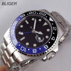 Luksusowa marka Bliger mechaniczne zegarki 43mm sterylna czarna oliwkowa tarcza GMT ceramiczna ramka szkiełka zegarka sapphire automatyczny męski zegarek