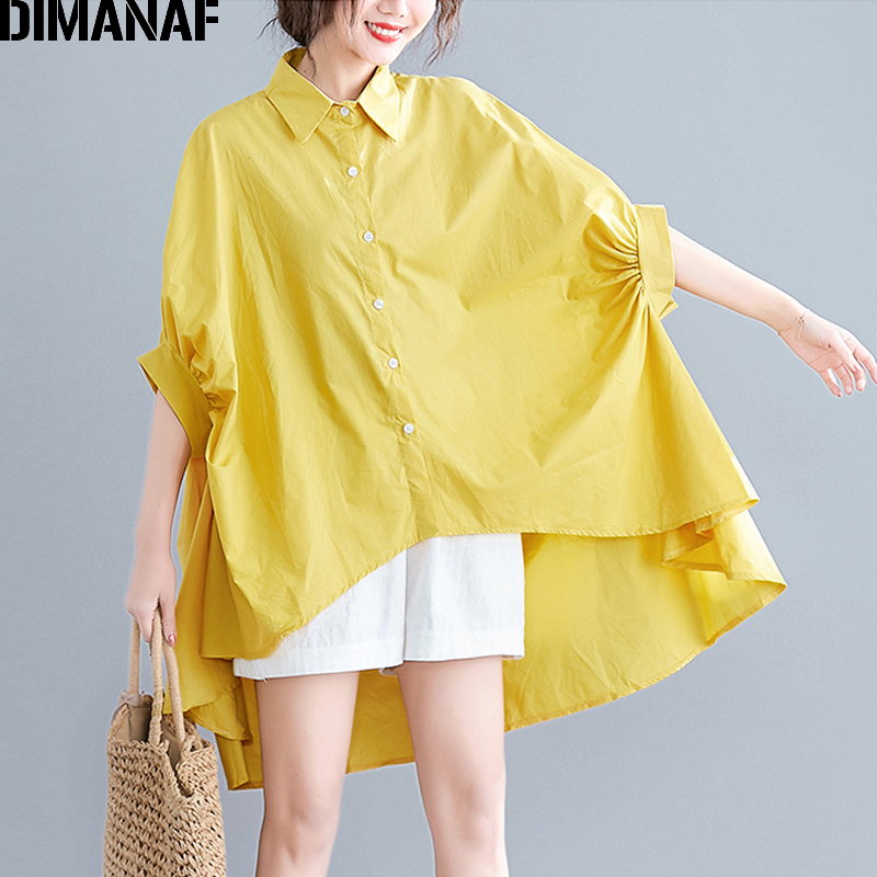 DIMANAF Plus Size Blouse Shirts Women Clothing Summer Office Lady Tops Tunic Solid Loose Casual Batwing Female Clothes 5XL 6XL