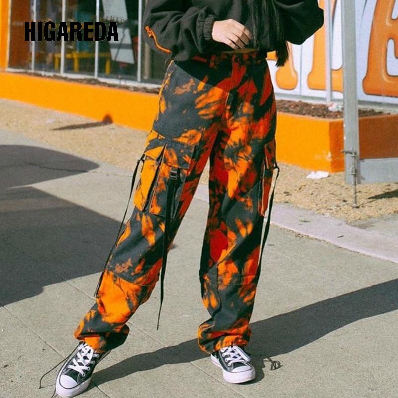 Tie Dye Print Cargo Pants Women Camo Orange Straight Long Trousers Casual Pockets Harem Pants Capris Streetwear 2020