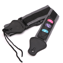 цена на Adjustable Simple Design Acoustic Electric Guitar Strap Electric Acoustic Bass Guitar Strap Belt with 3 Guitar Picks PU Leather
