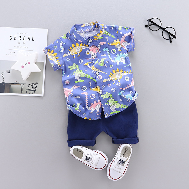 Baby Boy Clothes New Summer Dinosaur Printed Shirt + Solid Shorts 2 PCS Children Clothes Set Suits Kids Clothes 1 2 3 4 Years