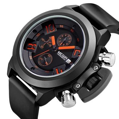 MEGIR Top Brand Fashion waterproof quartz watch for men sports running silicone chronograph wrist