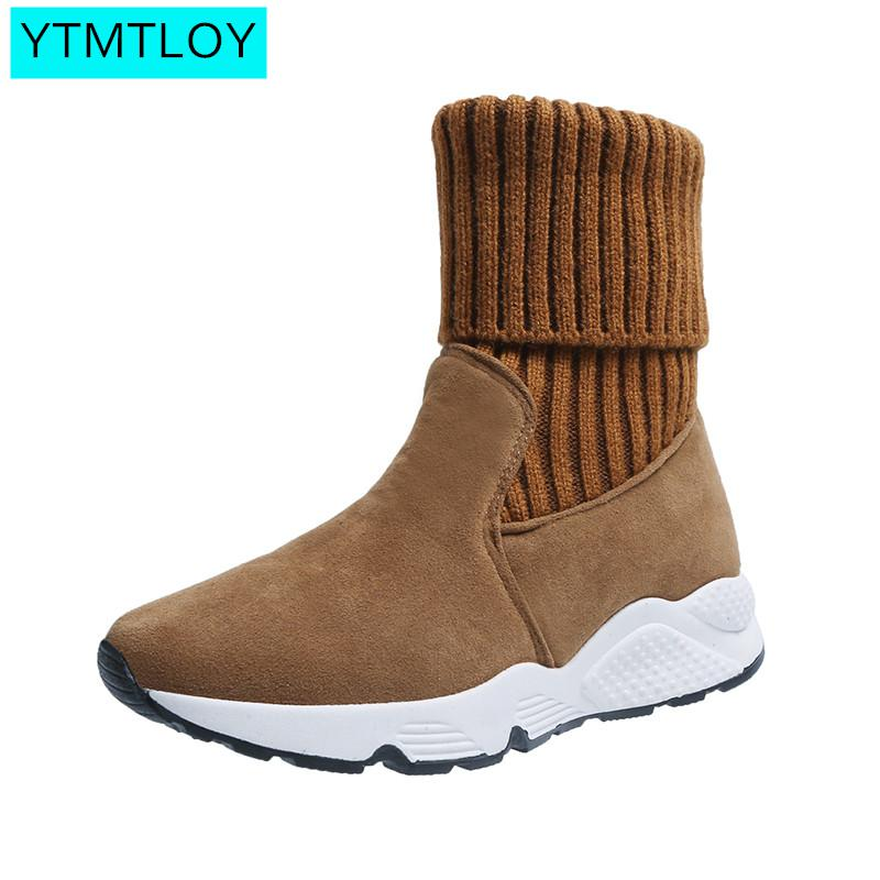 2019 New Autumn And Winter Explosions Fashion Elastic Chunky Stretch Women <font><b>Sexy</b></font> Booties Sock Boots Turned-over Edge Patchwork image
