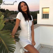 Simenual Ribbed Button Bodycon Mini Dress Women Short Sleeve Solid Fashion Skinny Clubwear 2020 Summer Dresses Casual Slim Basic