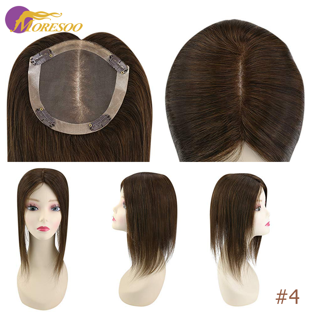 Moresoo Topper-Machine Hair Toupee Women Ombre-Color 8-18-Inches Remy