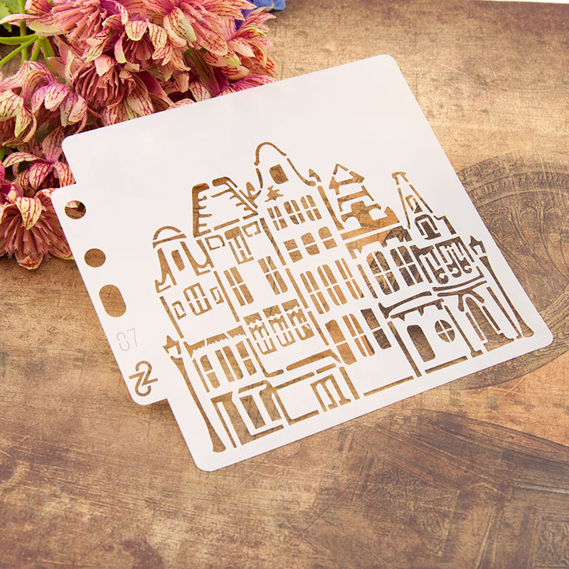 13*14cm House Building Street DIY Layering Stencils Painting Scrapbook Coloring Embossing Album Decorative Card Template