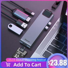 Baseus Adaptador USB C HUB a USB 3,0, HDMI para MacBook Pro Air, Thunderbolt 3, Dock RJ45, divisor USB Dual tipo C