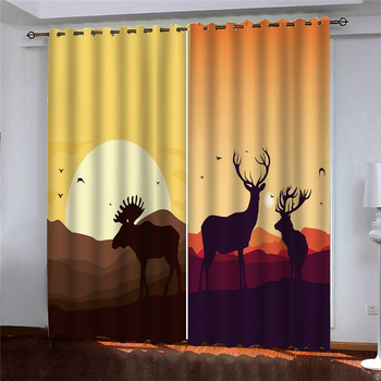 custom curtains Sunset mountain animals print Customized 3D Blackout Curtains Living Room Bedroom Hotel Window