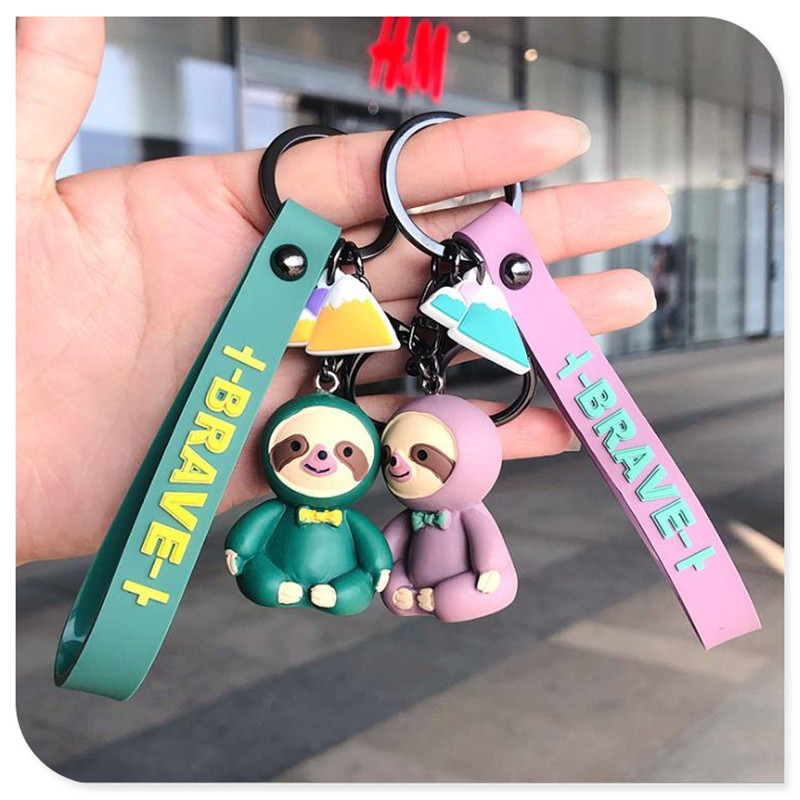 Cute Cartoon Tie Sloth Key Chain Bag Pendant Car Key Chain Easy To Carry Small Accessories