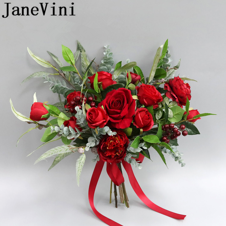 Bouquet Sposa Vintage.Janevini Red Artificial Rose Bridal Flowers Silk Wedding Bouquets