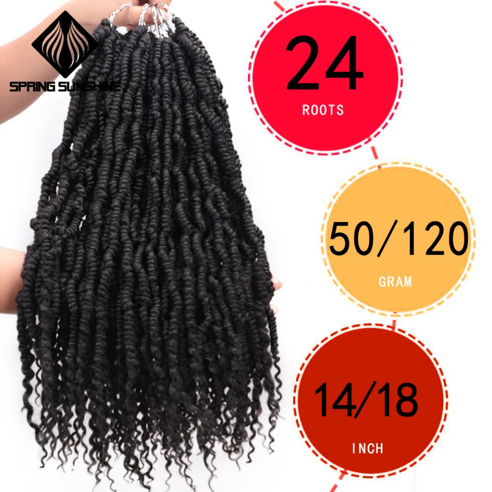 Pre Twisted Passion Twist Bomb Crochet Hair Synthetic Ombre Crochet Braids Pre Looped Fluffy Spring Twists Braiding Hair Bulk