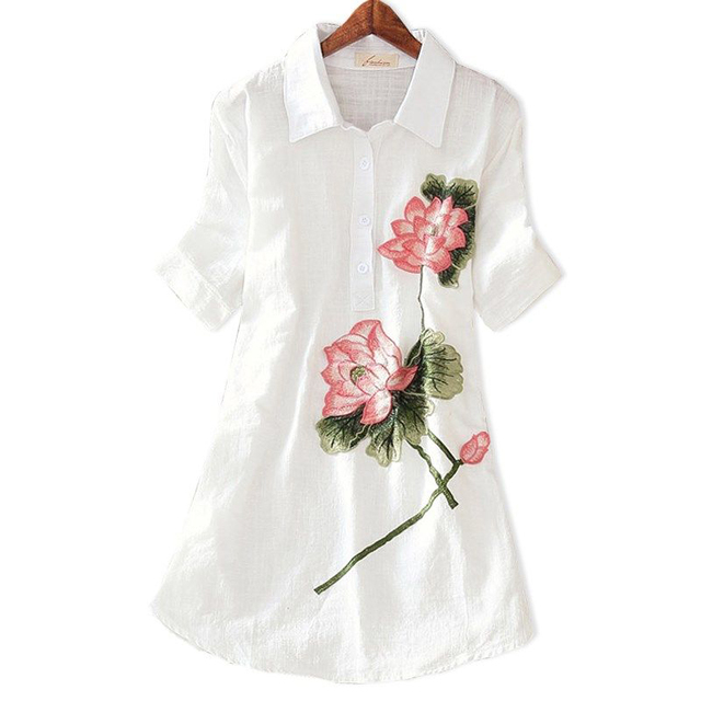 Women Spring Summer Style Embroidery Blouses Shirts Lady Casual Short Sleeve Turn-down Collar blusas Tops ZZ0556 4