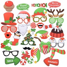 цена на 1set Photo Booth Props Christmas Decorations Snowman Masks Hat Creative Posing Props Christmas Party New Year Supplies