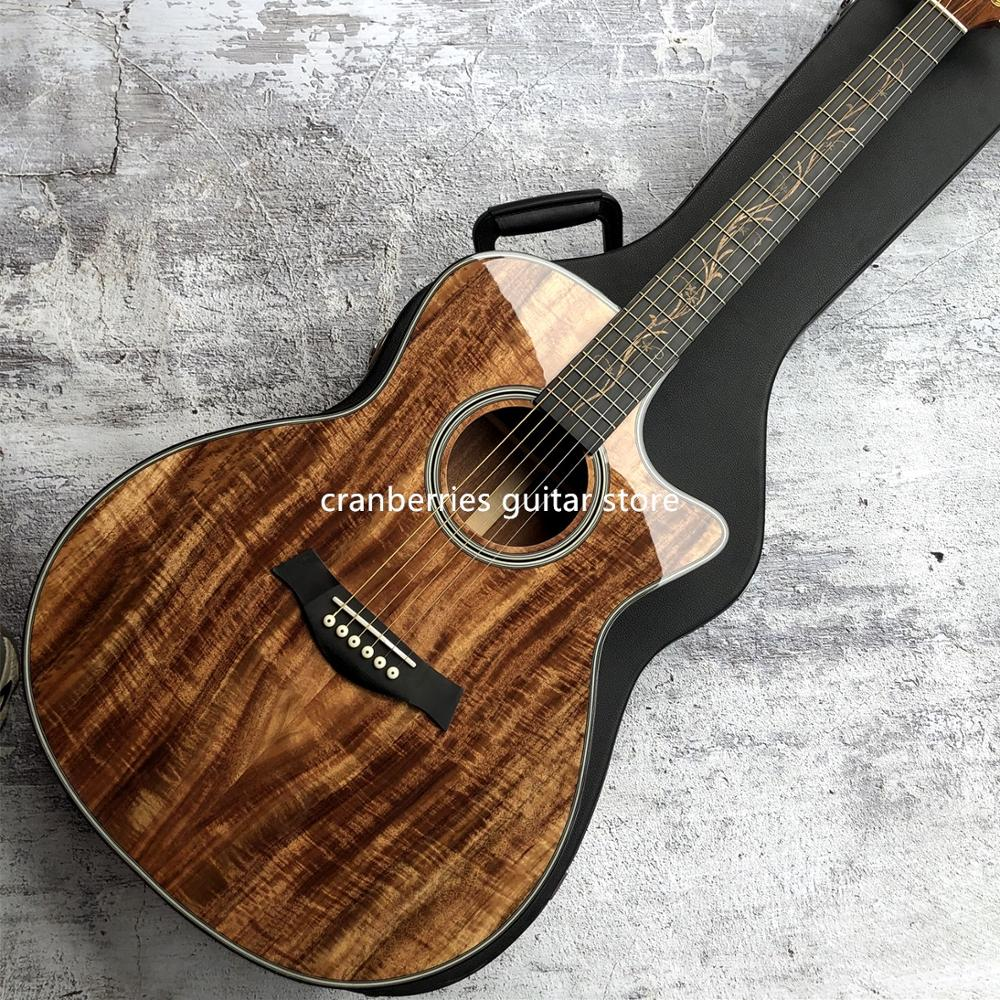 2020 Newest Chaylor K24ce Solid Koa Acoustic Guitar,Natural Wood Color,41 Inch K24 Koa Cutaway Electric Guitarra,Free Shipping