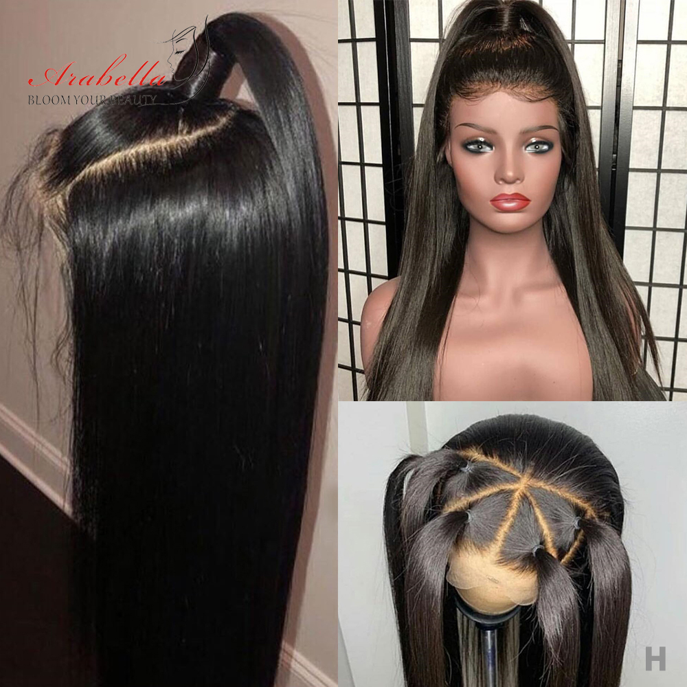 Arabella Hair Malaysian Straight Hair 13X6 13X4 Lace Front Remy Wig 150% 180% Density PrePlucked Lace Front Human Hair Wigs