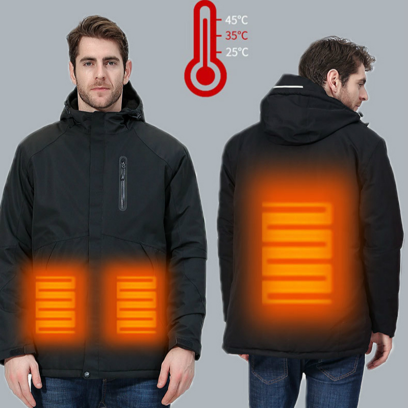 Couples Waterproof Jacket Men Women Solid Down Cotton Rain Jacket Keep Warm USB Heated Jacket Men Plus Size Regenjacke Herren