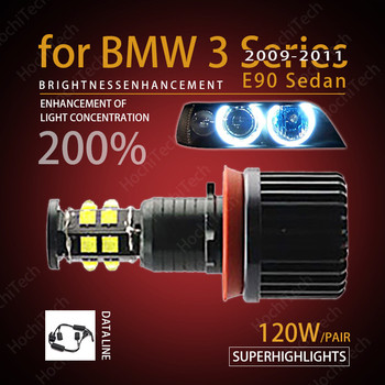 for Angel Eyes 120W h8 Super White 6000k Halo Ring LED Light for BMW 2009-2011 3 Series E90 Sedan (LCI) Super Bright image