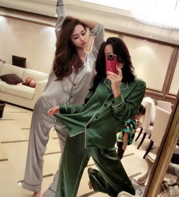 Hot Selling Victoria's Secret Spring And Autumn Korean-style Sweet Imitated Silk Fabric Long Sleeve Trousers Pajamas Women's Sex