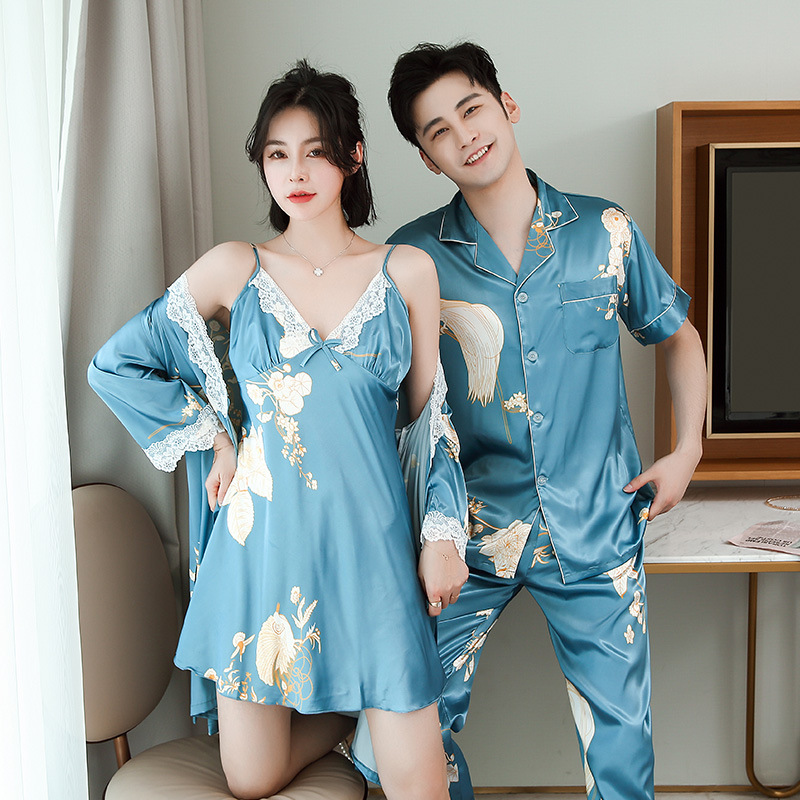 FZSLCYIYI Silk Couples Nightgown White Lace Design Morning Bride Bridesmaid Robes Printing Couples Pajamas