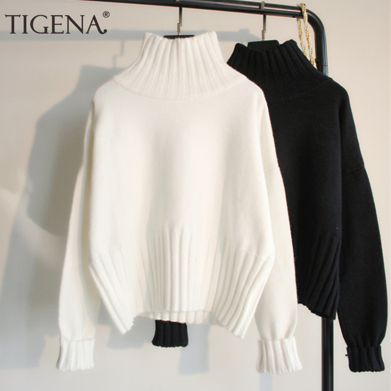 TIGENA Fashion Design Turtleneck Sweater Women Jumper 2019 Winter Loose Long Sleeve Knitted Pullover Sweater Female Black White