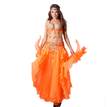 Performance Oriental Belly Dance Costume 3pcs Suit Bra Belt Skirt Women Professional Bellydance Beads Belly Dance Costume S-XL women professional belly dance tribal waist belt antique bronze beads metal chain belt for performance