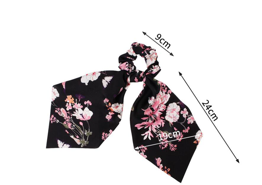 H311f87592d9648d6a7c36f499e3e1374n - Fashion Silk Satin Summer Ponytail Scarf Stripe Flower Print Ribbon Hairbands Hair Scrunchies Vintage Girls Hair Accessoires
