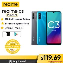 Realme C3 глобальная версия 3 Гб RAM 32 ГБ ROM Pro мобильный телефон MTK Helio G70 CPU 12MP камера 6,5 дюйммини-капля полноэкранный 5000 мАч