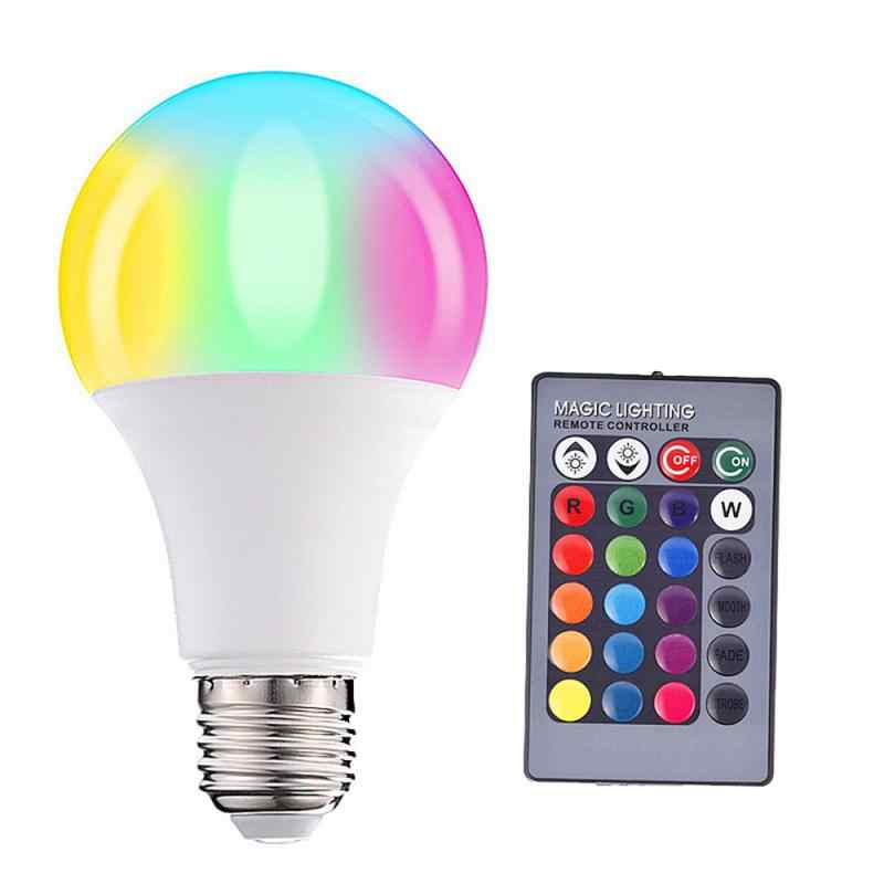 Bombillas LED E27, regulables, Color cambiante, RGB, mágicas, bombillas LED de 3/5/10/15W 85-265V RGB, foco para lámpara Led, Control remoto por infrarrojos