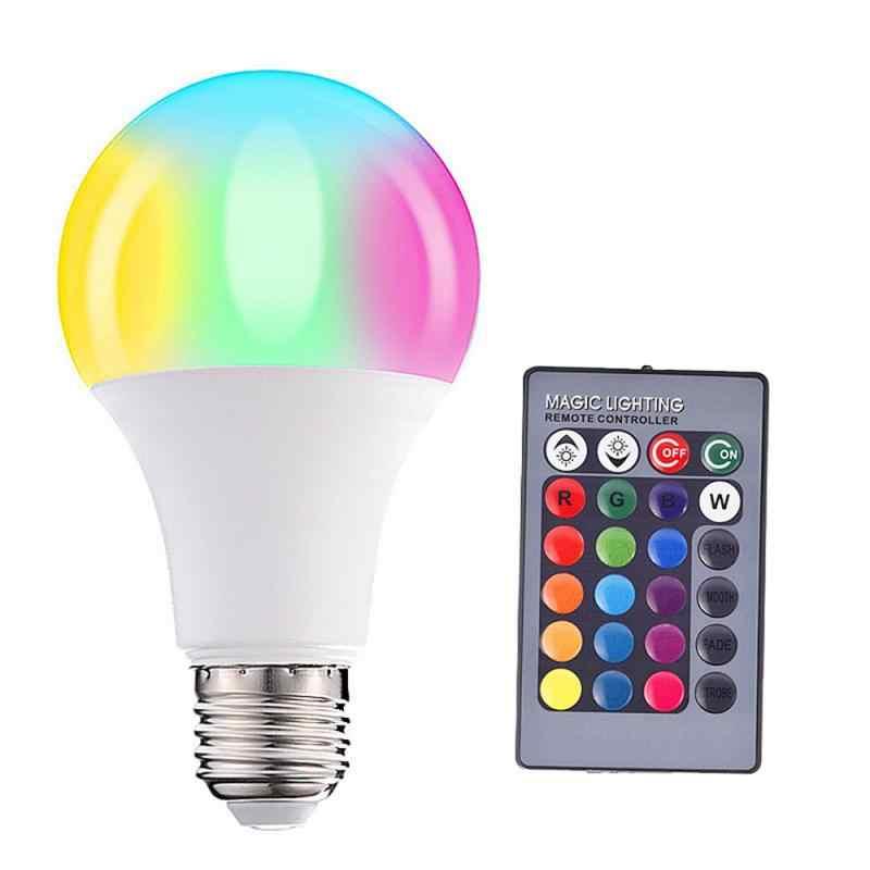 E27 หลอดไฟ LED หรี่แสงได้สีเปลี่ยน RGB เมจิกหลอดไฟ LED 3/5/10/15W 85- 265V ไฟ LED RGB Spotlight IR รีโมทคอนโทรลหลอดไฟ LED