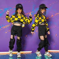 Крутая детская одежда в стиле хип-хоп толстовка с капюшоном, рубашка Топ, повседневные штаны с дырочками для девочек, костюм для джазовых ба...