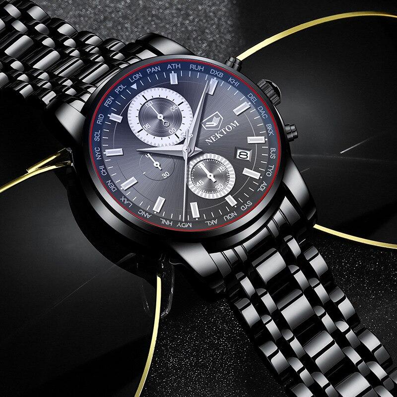 Saatler'ten Kuvars Saatler'de NEKTOM yeni erkek kol saatleri paslanmaz çelik su geçirmez erkek saatler kuvars moda iş erkek saatler siyah title=