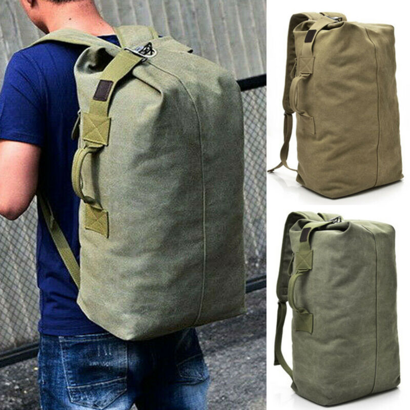 Outdoor Large Men Canvas Backpack Rucksack Hiking Shoulder Travel Camping Duffle Satchel Military Bags UK
