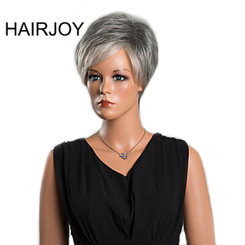 цена на HAIRJOY  Women Grey White Bangs Synthetic Hair Wig   Short Curly Wigs Heat Resistant Fiber 3 Colors Available   Free Shipping