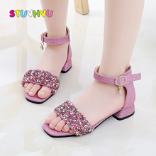 Summer Kids Girls Sandals 2020 New Fashion Children High-heels Princess Shoes Open Toe Slip Sequin Girls Shoes Pink Silver Black girls roman sandals for kids princess shoes summer fashion high heels soft leather children open toe sandal dress wedding party