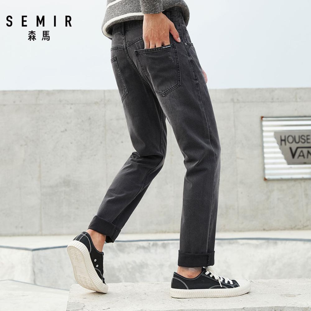 SEMIR Washed Jeans for Men Skinny Jeans in Soft Cotton Men's Slim Fit Jeans Straight Leg Men Classci Jeans Trousers Pants
