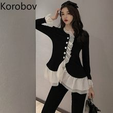 Korobov novo babados botão retalhos blusas femininas vintage alargamento manga hit cor camisas curtas coreano malha mujer 79481
