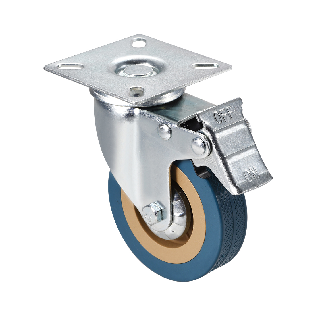 Uxcell 1/2/4pcs Swivel Caster Wheels 2/3/4 Inch PVC Wheel Top Plate Mounted With Brake 44/88/100lb Capacity Quiet Rolling