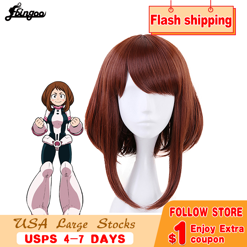 Ebingoo My Hero Academia OCHACO URARAKA Auburn Brown Short Straight Bob Synthetic Cosplay Wig For Role Play Halloween Costume