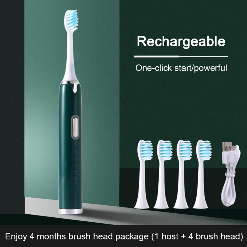 Yetişkin elektrikli diş fırçası ultrasonik otomatik derin temizlik USB şarj edilebilir su geçirmez çocuk diş fırçası fırça kafası ile