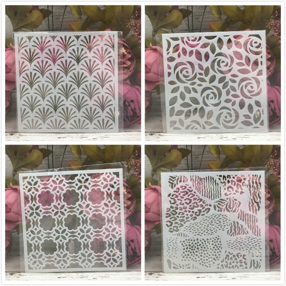 4Pcs/Set 15cm Leopard Flower Texture DIY Layering Stencils Wall Painting Scrapbook Coloring Embossing Album Decorative Template