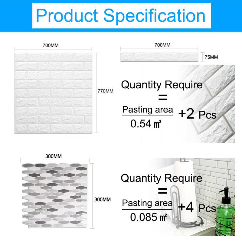 3D WallStickers หินอ่อนอิฐ Peel และ Self-Adhesive Wall Paper กันน้ำ DIY ครัวห้องน้ำ Home Wall Decal สติกเกอร์