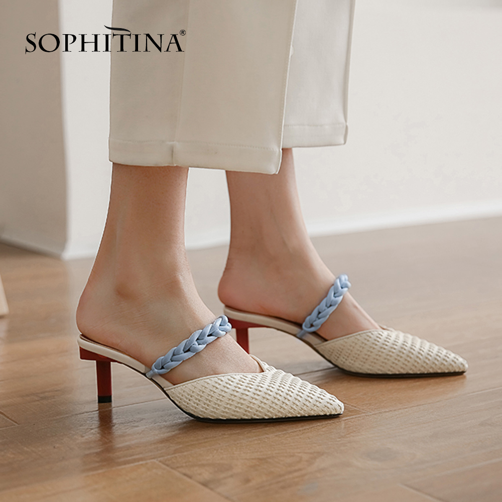 SOPHITINA New Mature Fashion Women Pumps Hemp Rope Decoration High Quality Cow Leather Elegant Shoes Stylish Summer Pumps SO444