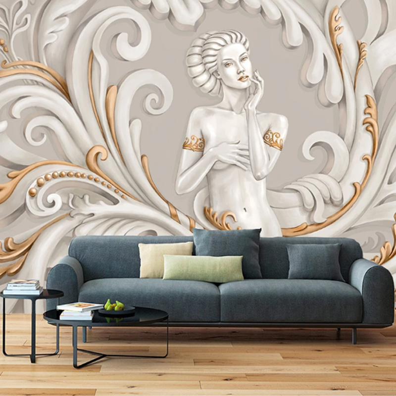 European Style Wallpapers 3d Beauty Angel Relief Living Room Bedroom Wallpaper for Walls Background Wall Decoration Painting2020