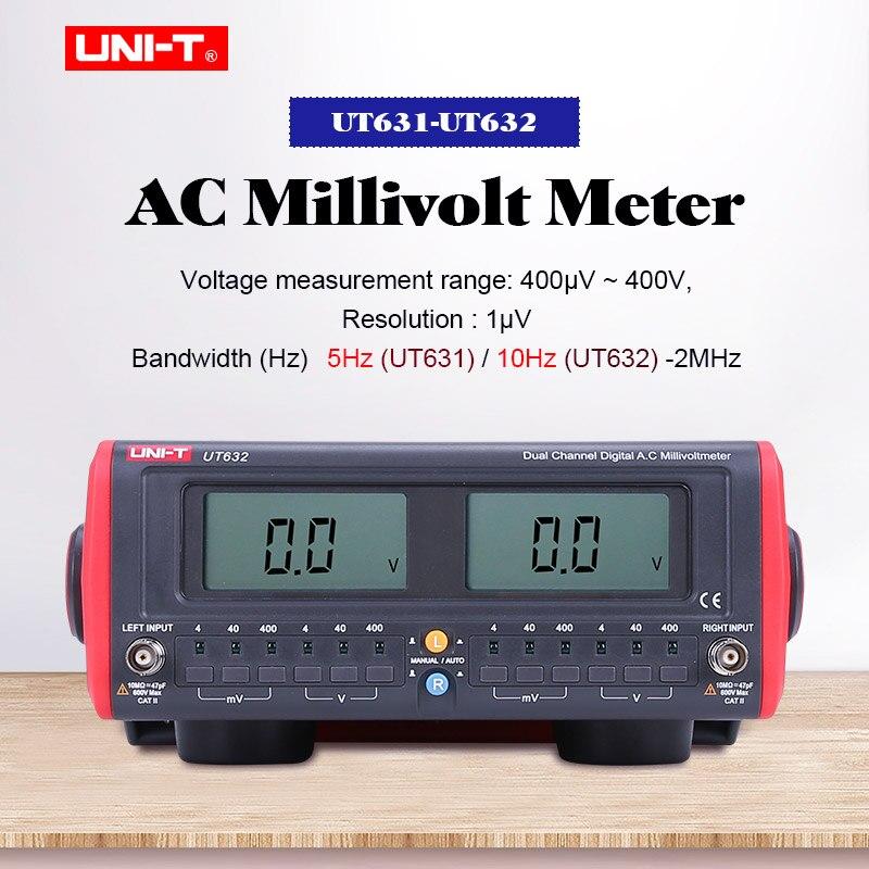 UNI-T UT631 UT632 double canal numérique AC Millivolt mètre AC testeur de tension ca Milli Volt mètre 10Hz ~ 2MHz volt mesure de fréquence