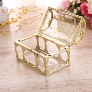 Christmas Plastic Casket Transparent Storage Box CrystalGem candy Box Organizer Chest Jewelry Trinket Box Wedding Gifs for Guest(China)