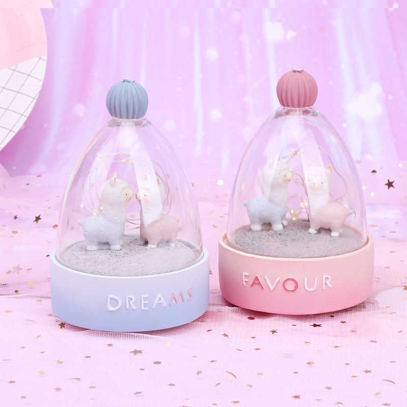 Kreatif Alpaka Cute Pearl Ornamen Resin Kap Lampu Malam Lampu Kerajinan Rumah Dekorasi Aksesoris Hadiah Natal