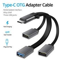USB 3.0 typ C kabel OTG do 3 USB przedłużacz Hub OTG przejściówka rozgałęziająca do napędu Flash dysk mysz telefon z systemem Android czytnik danych