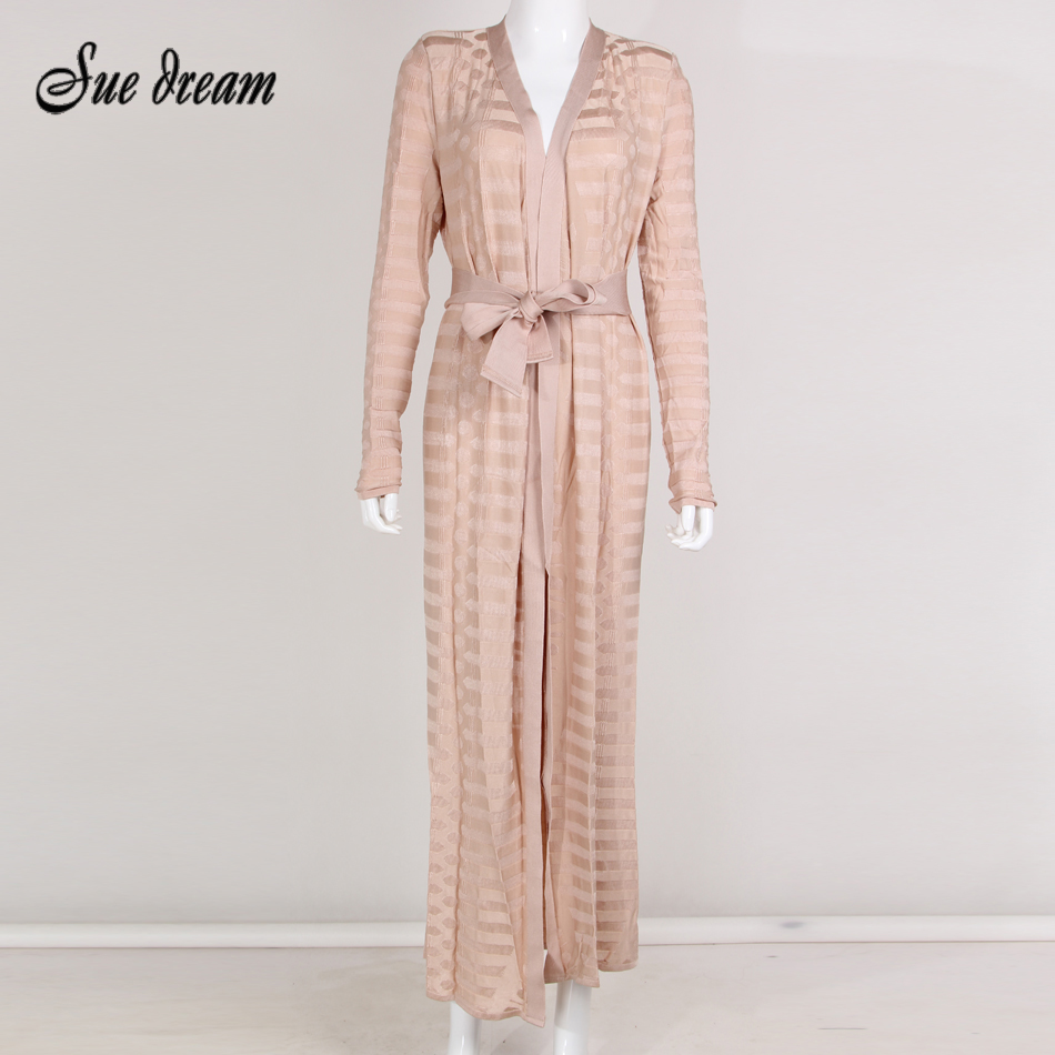 2017 Summer New Style Fashion Long Sleeve V Neck Sashes Striped  Casual Ankle Length Dress Elegant Loose Bodycon Apricot Dresses